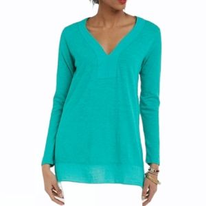 Left of Center Anthro Teal Tunic Blouse Size XS